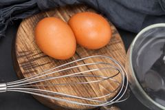 Food Background Eggs on chopping royalty free stock image