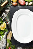 Food background with Fish and Wine Royalty Free Stock Images