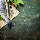 Food background with Fish and Wine Stock Photography