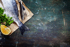Food background with Fish and Wine Royalty Free Stock Image