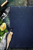 Food background with Fish and Wine Royalty Free Stock Photography