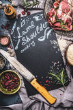 Food Background For Recipes Of Lamb Shoulder Cooking. Raw Meat , Butcher Knife , Rice And Ingredients Around Chalkboard With Handw Royalty Free Stock Image