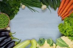 Food background with free copy space for text in the centre. Fresh organic vegetables: carrots, salad, garlic - raw ingredients. Food background with free copy Royalty Free Stock Photography