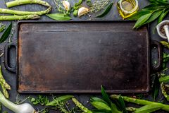 Food background with free space for text. Herbs, olive oil, spices around cast iron frying board. Top view Stock Image