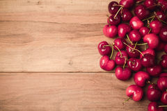 Food background with fresh cherries with retro filter effect. View from above Stock Photography
