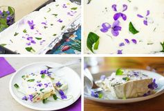 Food background with gelatin cream with vegetable and edible flowers Stock Image