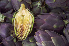 Food background. Green and purple Italian Artichokes Royalty Free Stock Photo