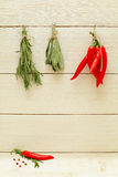 Food background with herbs and spices Stock Image