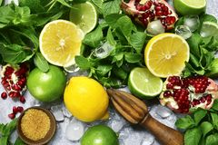 Food background with ingredients for making citrus lemonade.Top stock photography