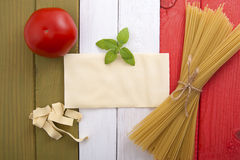 Food on the background of the Italian flag. Stock Photo