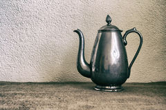 Food background with old antique iron kettle. Stock Image