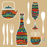 Food Background With Ornate Tableware Royalty Free Stock Images