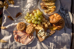 Food background of picnic set, top view Stock Images