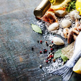Food background with Seafood and Wine. Lots of copy space Stock Photography
