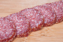 Food background of sliced salami Royalty Free Stock Photo