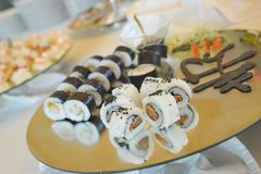 A mix of sushi. Food background with some sushi plate Stock Image
