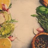 Food background, spices, herbs, olive oil and seasonings, top vi royalty free stock photo
