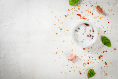 Food background with spices Royalty Free Stock Photo