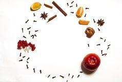 Food background with spices and ingredients for making mulled wine. The concept of Christmas and cooking warming drinks. royalty free stock photography