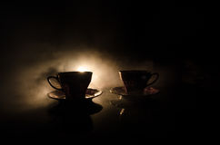 Free Food Background Tea And Coffee Theme. Old Vintage Ceramic Tea Or Coffee Pot With Cups Jug And Sugar Cup On Dark Background With Li Stock Photos - 92833353