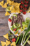 Food background with tortilla ingredients Royalty Free Stock Images