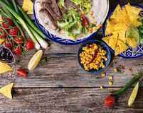 Food background with tortilla ingredients Stock Photos