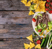 Food background with tortilla ingredients Royalty Free Stock Image