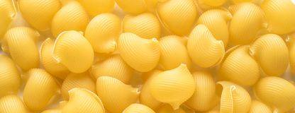 Food background Uncooked Macaroni Lumaconi. Close-up macro Concept set of ingredients for Pasta internet web banner for site top view stock photo