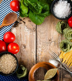 Food background on wooden board Royalty Free Stock Photo
