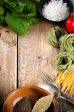 Food background on wooden board Royalty Free Stock Photos