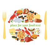 Food badge concept with knife and fork Royalty Free Stock Photography