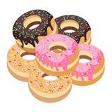 Six Glazed Donuts Assortment on White Background Stock Image