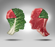 Food Balance. And health related eating choices with a human head shape green vegetable kale leaf with a piece of meat as a pie chart facing a red steak with vector illustration