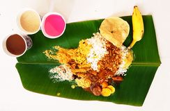 Food in Banana leaf. Lunch is ready to eat Stock Images