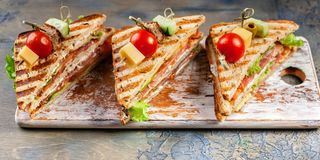 Food banner appetizing sandwiches with beef and green salad. Traditional breakfast or lunch royalty free stock image