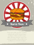 Food Banner with Burger for advertising. Vector illustrations. Food banner for advertising. Vector illustrations Stock Photography