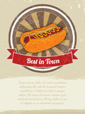 Food Banner with Hot-Dog for advertising. Vector illustrations. Food Banner advertising. Vector illustrations Stock Photos