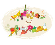 Food banner with meal, wine, desserts Royalty Free Stock Images