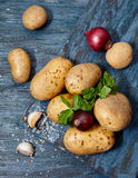 Food banner. Raw potatoes , onions , parsley on a dark wooden table royalty free stock photos