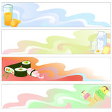 Food  Banners. Vector illustration of Colorful banners set with funky food Stock Photography