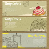 3 food banners for advertising. Vector illustration Stock Image