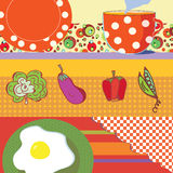 Food banners with eggs, tea, vegetables Royalty Free Stock Photography