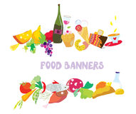 Food banners set cartoon Stock Photos