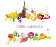Food banners set cartoon. Design Stock Photos