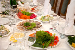Food at banquet table Stock Images
