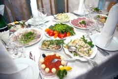 Food at banquet table. Wedding stock photos