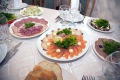Food at banquet table. Wedding royalty free stock photos