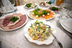 Food at banquet table. Wedding royalty free stock photography