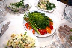 Food at banquet table. Wedding stock image