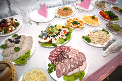 Food at banquet table. Wedding stock images
